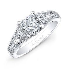 18k White Gold Split Shank Diamond Engagement Ring for a Princess Cut Center - NK26630-18W