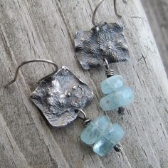 Sterling Silver Earrings Rustic Reticulated Aquamarine Dangling Gemstone Earrings by artdi on Etsy https://www.etsy.com/listing/273888452/sterling-silver-earrings-rustic