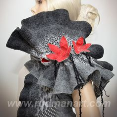 Felted scarf 3D ART made from wool and silk Dark Gray by RudmanArt