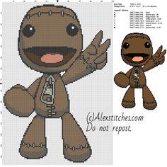 Sackboy Little Big Planet free videogames cross stitch pattern 100x150 8 colors