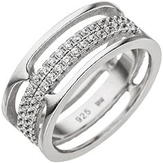 JOBO Damen Ring 3-reihig breit 925 Sterling Silber mit Zi... https://www.amazon.de/dp/B0747RZSYC/?m=A105NTY4TSU5OS