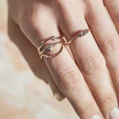 Dear Rae | Fancy Pants Diamond Ring Collection  #DearRae #DearRaeJewellery #DiamondRings #ColourDiamonds #EngagementRings #TrillionDiamondRing #RoseCutDiamond