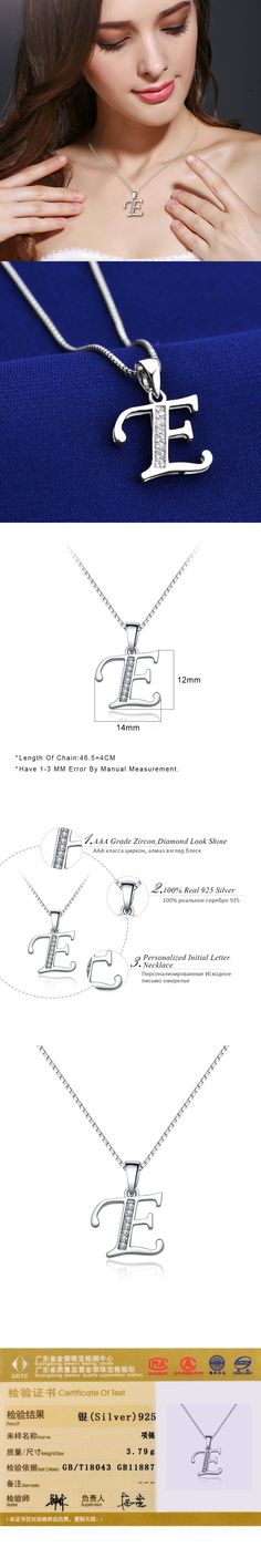 QUEEN OF HEART Fine Jewelry 925 Sterling Silver Necklace Personalized Initial Letter E Pendant Necklace N2