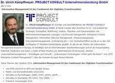 Vortrag Dr. Ulrich Kampffmeyer, PROJECT CONSULT, auf dem Update Information Management 2016.