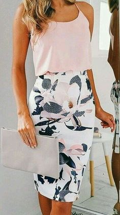 #spring #outfits Pink Tank + White Floral Pencil Skirt