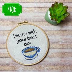 Items similar to Cross Stitch Kit - Modern Cross Stitch Kit - Beginner - Quote Cross Stitch on Etsy Cross Stitch Hoop, Modern Cross Stitch, Cross Stitch Patterns, Glue Crafts, New Crafts, Wooden Embroidery Hoops, Fun Cup, Embroidery Needles, Dmc Floss
