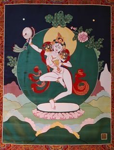 Machig Labdron, inspired by the Great Mother, Perfection of Wisdom, developed the Mahamudra Chod system.  This fabric thangka created by Leslie Rinchen-Wongmo - this links to her website.