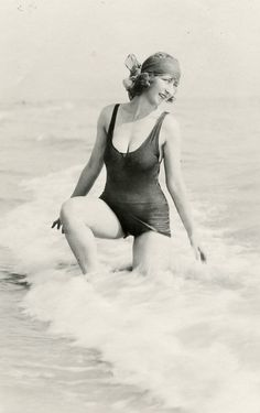 Gladys Wagner posing at the beach in San Francisco during the 1920s