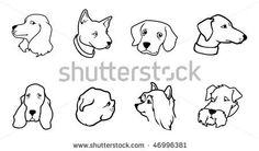 cartoon vector outline illustration dog heads by Andre Adams, via ShutterStock