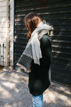 madewell city grid coat worn with the patchwork scarf.