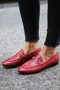 Shop the Gucci Jordaan GG canvas loafer by Gucci. The Gucci Jordaan loafer is a key silhouette that spans across seasons. A classic shape in Original GG canvas. Red Loafers, Loafers Outfit, Loafer Shoes, Women's Shoes, Women's Flats, Fall Shoes, Spring Shoes, Women's Sandals, Dance Shoes