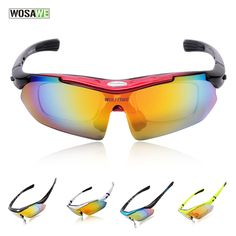 3a5e17ff9b Wosawe Motorcycle Automobile Cycling Bicycle Bike Sports Sun Glasses Eyewear  Goggle Sunglasses 5 Lens Replaceable Polarized