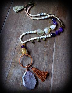 raw amethyst Karma necklace long bohemian necklace gypsy by anainc