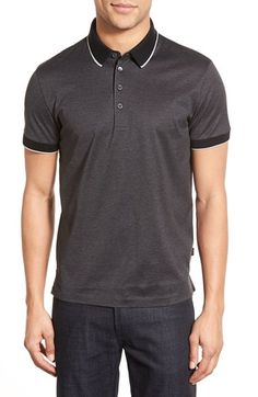 1821bc6a6 BOSS 'Pierson' Mercerized Cotton Polo Contrast Collar, Nordstrom, Mens  Fashion, Cotton