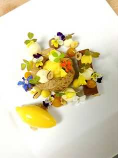Gianduja Ganache, Hazelnut Microwave Sponge, Passion Fruit Cremoso, Mango Gel, Toasted hazelnut , Passion Fruit Foam, Mango Sorbet, Milk Chocolate Mousse by Pastry Chef Antonio Bachour, via Flickr