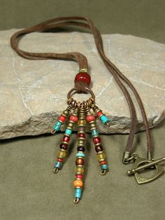Tribal Necklace  Native Necklace  Leather by StoneWearDesigns, $36.00