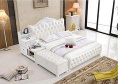 Stoccaggio ottoman diamante trapuntato contemporanea genuino letto in pelle moderna camera da letto mobili made in China