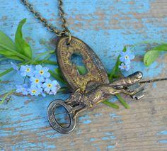 Repurposed skeleton key/escutcheon/fox necklace - Fox Magic. $32.00, via Etsy.