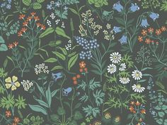 Scandinavian design wallpaper Flora from collection Jubileum by Borastapeter and… Deco Floral, Motif Floral, Floral Prints, Bleu Pastel, Pastel Colors, Colours, Pastel Wedding Colors, Pastel Floral, Textures Patterns