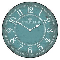 "Large wall  Aqua & White Clock, 12""- 48"" Whisper Quiet, Non-Ticking"