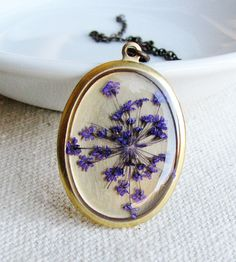 Pressed Purple Queen Anne's Lace Flower Necklace by KateeMarie on Scoutmob