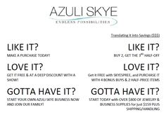 We have the BEST business opportunity, with the most considerate and generous CEO, the most amazing team, and the most stunning fabulous jewelry at affordable prices.   The experience=priceless.    To learn more about our opportunity:   https://azuliskye.com/Join-the-Family.html    Shop online anytime:   www.azuliskye.com/chinglo