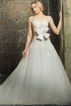 Polka dot wedding gown with bow. Zuhair Murad.
