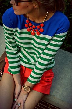 Love the stripe and pop of color.