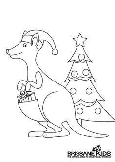 christmas kangaroo colouring in