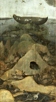 Flood. circa 1514-1516. oil on panel. 69 × 39 cm (27.2 × 15.4 in). Rotterdam, Museum Boijmans Van Beuningen.