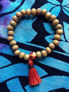 Traditional 27 wooden bead MALA stretch by HappyHempCrafts on Etsy