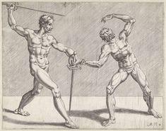 anoniem | Twee zwaardvechters, possibly Cornelis Bos, 1552 | Twee naakte zwaardvechters. De prent maakt deel uit van een serie over twee zwaardvechters in een tweekamp.