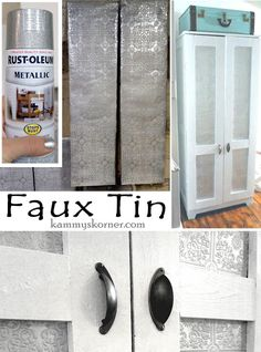 Kammy's Korner: How To: Faux Tin Using Wallpaper and hammered silver spray paint! {Cabinet makeover} furniture upcycle