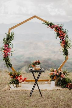 7 Wedding Arches That Will Instantly Upgrade Your Ceremony - Hexagon wedding arch with fall wedding flowers 🌟💡💖geometric wedding ideas - Fall wedding ideas wedding ceremony Inexpensive Wedding Flowers, Bright Wedding Flowers, Winter Wedding Flowers, Wedding Colors, Diy Wedding Arch Flowers, Winter Wedding Arch, Simple Wedding Arch, Yellow Wedding, Wedding Table Centerpieces
