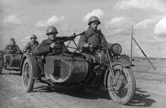 Soviet motorcyclists on the road to the front  http://albumwar2.com/soviet-motorcyclists-on-the-road-to-the-front/