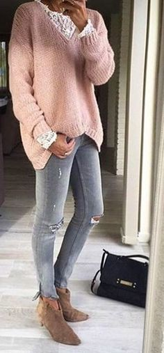 #thanksgiving #fashion · Pink Knit // Destroyed Skinny Jeans // Suede Ankle Boots #Skinnyjeans