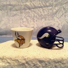 NFL Minnesota Vikings MINIATURE PORCELAIN 2007 CUP & 2010 HELMET TEAM COMBO LOT  #Unbranded #MinnesotaVikings