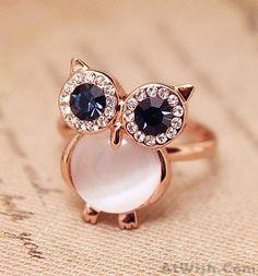 Lovely Owl Opal Opening Animal Ring