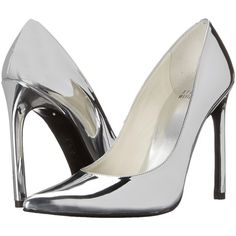 Stuart Weitzman Queen (Silver Specchio) High Heels (680 BRL) ❤ liked on Polyvore featuring shoes, silver, slip on shoes, sexy shoes, pointy toe shoes, stuart weitzman shoes and slip-on shoes