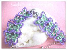 """Koronka tatted bransoletka """"Motyl dance'- ręcznie jewels- tatted jewels- oryginalny Design Gaëlle w tatted bracelet- zielony i fioletowy"""