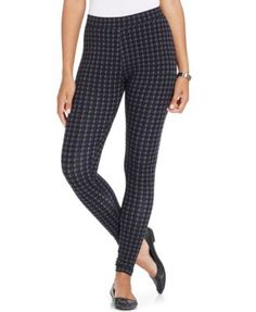 Style & Co. Printed Houndstooth Leggings, Only at Macy's