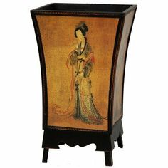 """Oriental Furniture Best Unique Houswarming Birthday Gift Idea 2011- 18-Inch Enchanted Lady Decorative Trash Can Waste Paper Basket Bin by ORIENTAL FURNITURE. $47.00. Beautiful square bell shape decorative trash can waste basket, 18"""" tall by 11"""" square. Classic ming dynasty """"enchanted lady"""" folk art motif on parchment color background. Browse our huge selection of japanese, chinese, asian décor, room dividers, art, lamps and gifts. Offered here a great discounte..."""