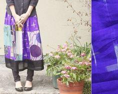 アンティーク銘仙から作った膝下丈スカートです。紫~青~ターコイズブルーの寒色系でまとめました。一部銘仙でない生地も使用しています。裾に黒を持っていき、全体をキ...|ハンドメイド、手作り、手仕事品の通販・販売・購入ならCreema。