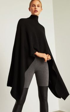 BCBG Asymmetrical Ribbed Turtleneck Poncho ~ Today's Fashion Item The clothing culture is fairly old. Fashion 2017, Look Fashion, Autumn Fashion, Fashion Outfits, Womens Fashion, Fashion Design, Fashion Trends, Cheap Fashion, Mode Outfits