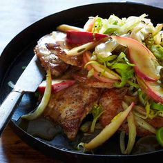 Pork Chops with Apple, Fennel, and Sage