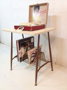 Record Player Stand Mid Century Modern TV Table Metal Brown and White or Cream. $65.00, via Etsy.