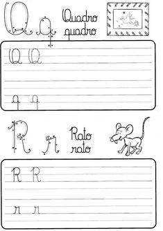 Atividade de caligrafia letras do alfabeto ilustrado - Como Fazer Professor, Homeschool, Calligraphy, Math Equations, Writing, Reading, Sites, Jade, Preschool Literacy Activities