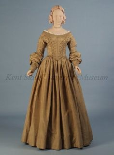 "Dress and pelerine, ca 1839 US, Kent State  This color was once called ""drab""."