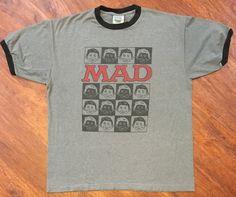 Mad Magazine Gray Ringer T-Shirt Sz L Alfred E Newman Thunder Creek USA Made! #ThunderCreek #RingerTee