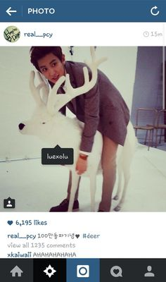 140510 Chanyeol posted this photo on Instagram (real__pcy) and he tagged the deer as Luhan (luexolu)! LMAO